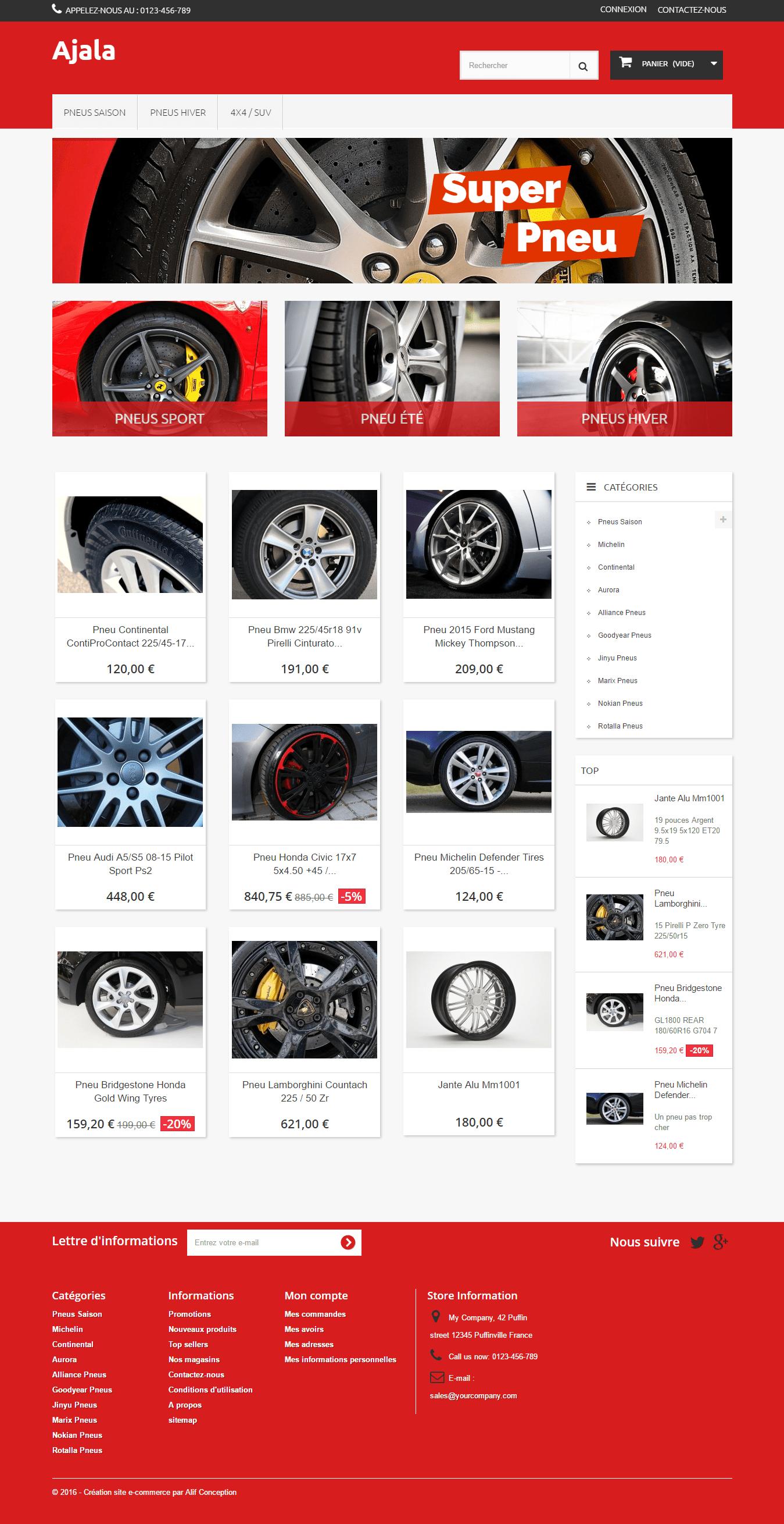 Page d'accueil template pneu pour PrestaShop 1.6