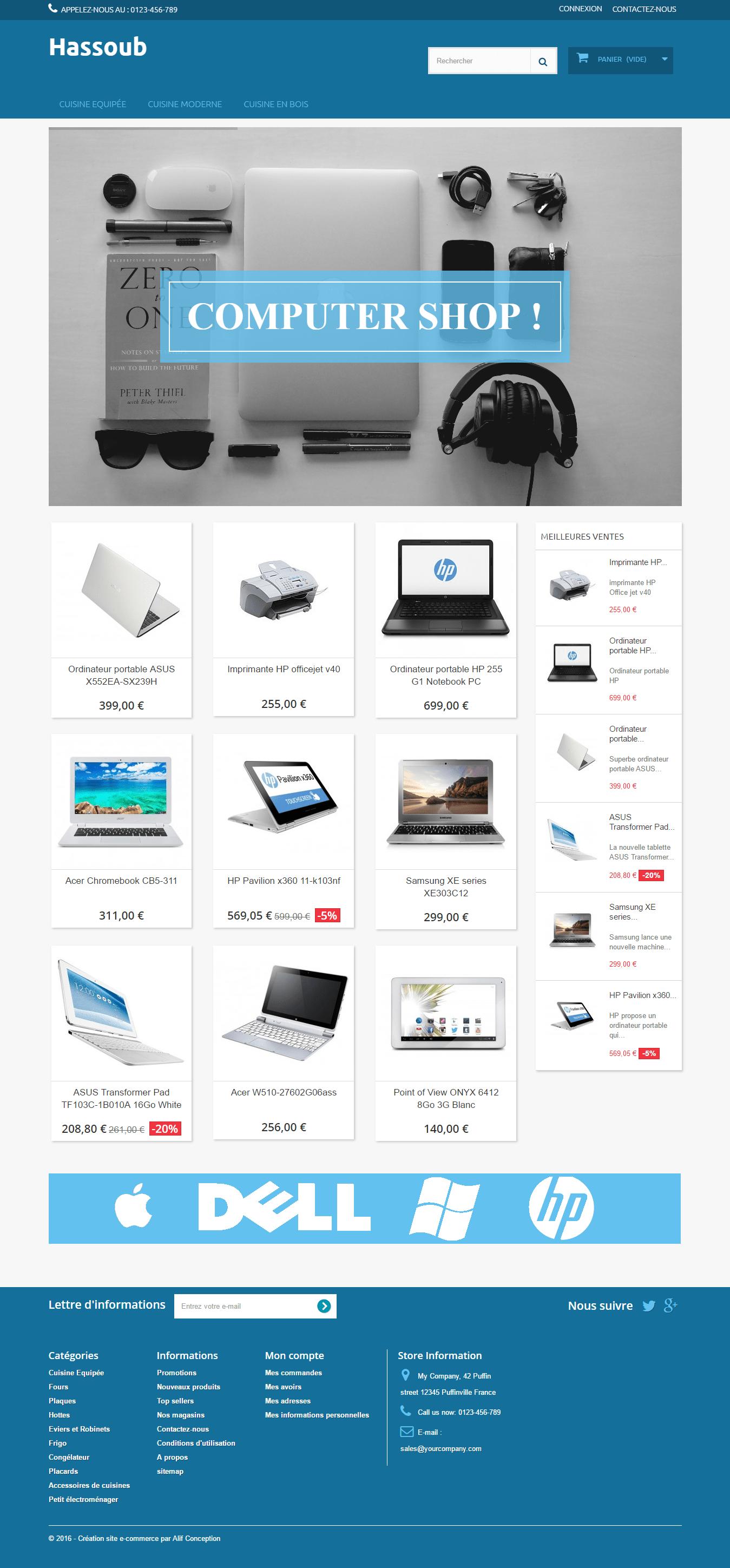 Page d'accueil template ordinateur portable pour PrestaShop 1.6