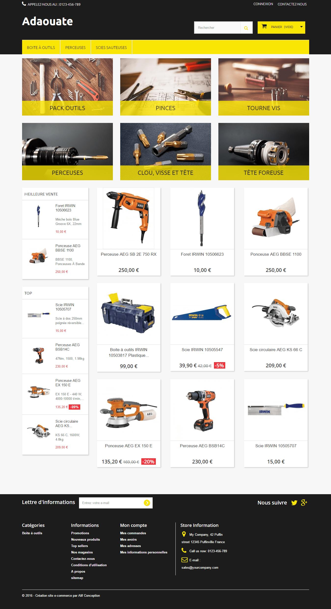 Page d'accueil template outils de bricolages pour PrestaShop 1.6