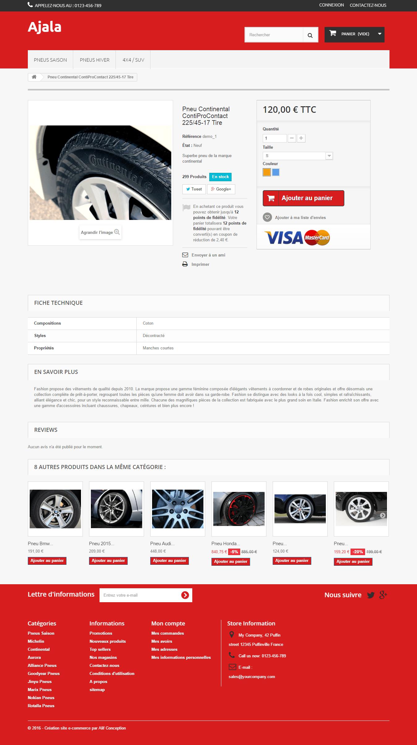 fiche produit template pneu PrestaShop 1.6