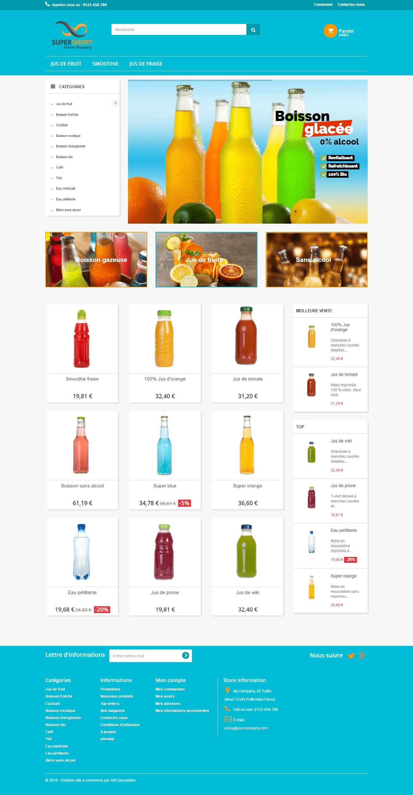 Page d'accueil template vente de boisson pour prestashop 1.6