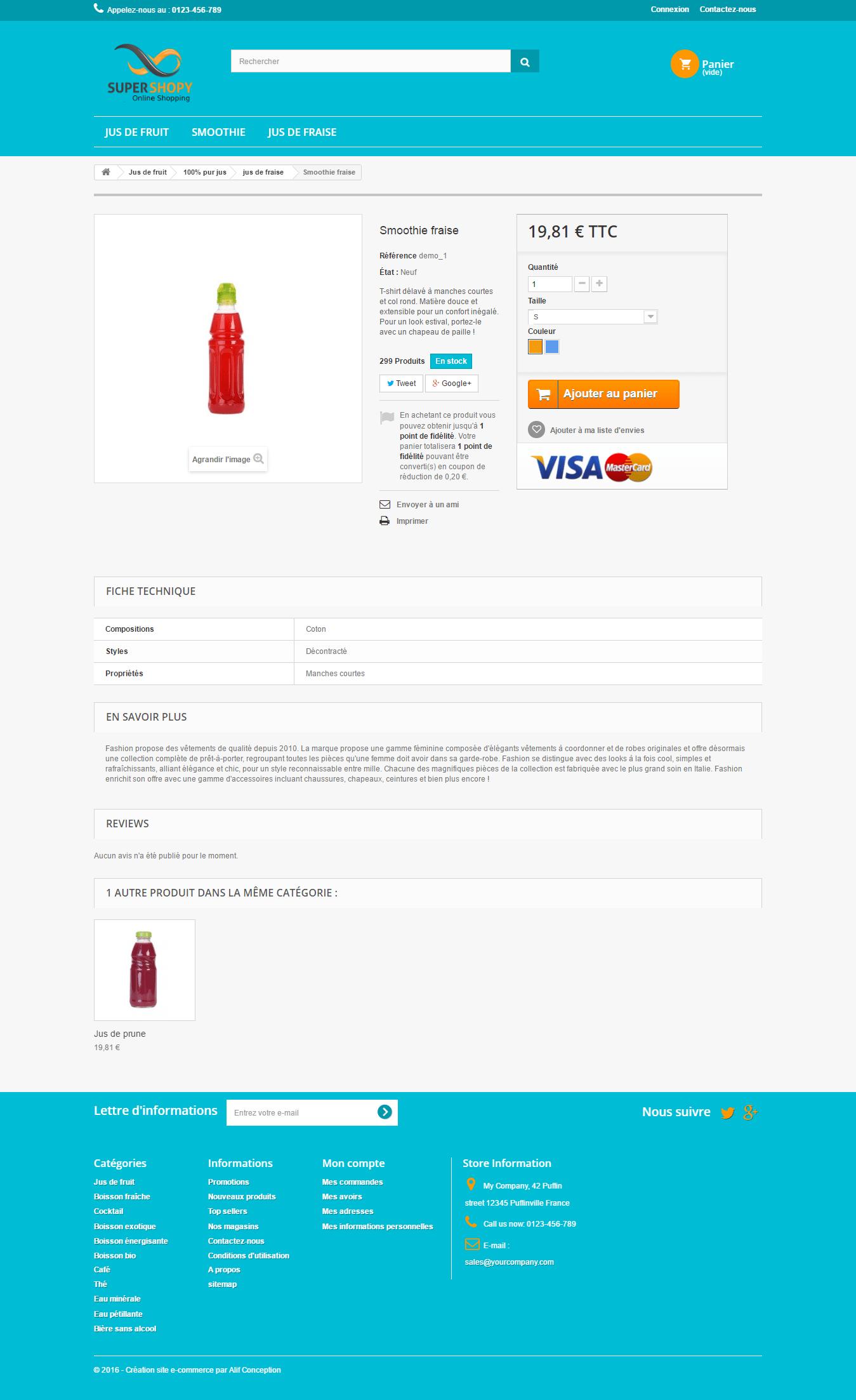 Page produit template vente de boisson pour prestashop 1.6