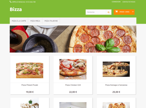 aperçu template pizza PrestaShop