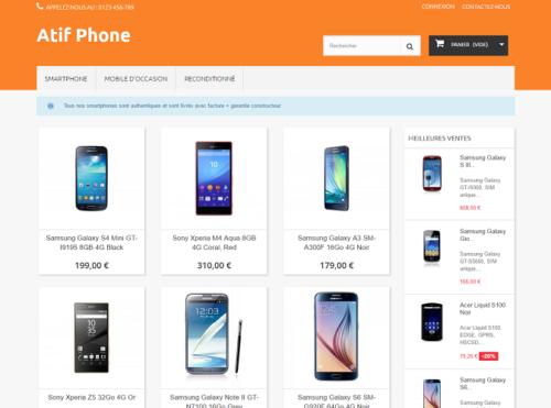 aperçu template PrestaShop pour smartphone et téléphone portable